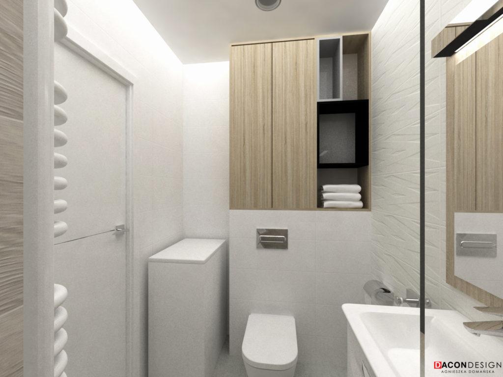 Nowoczesna łazienka z ceramiką Roca, białymi płytkami i drewnem