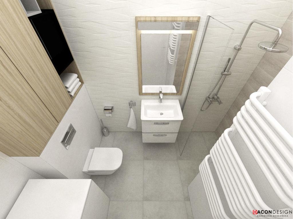 Mała łazienka z płytakmi białymi, fakturą betonu i drewna