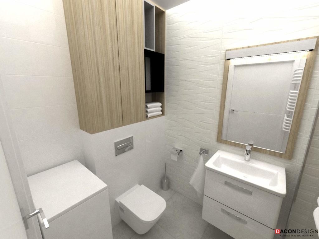 Łazienka w małym mieszkaniu z drewnem i płytkami z fakturą betonu