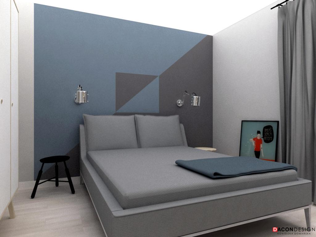 Minimalistyczna sypialnia z tapicerownym łóżkiem, czarnymi stolikami i polską grafiką