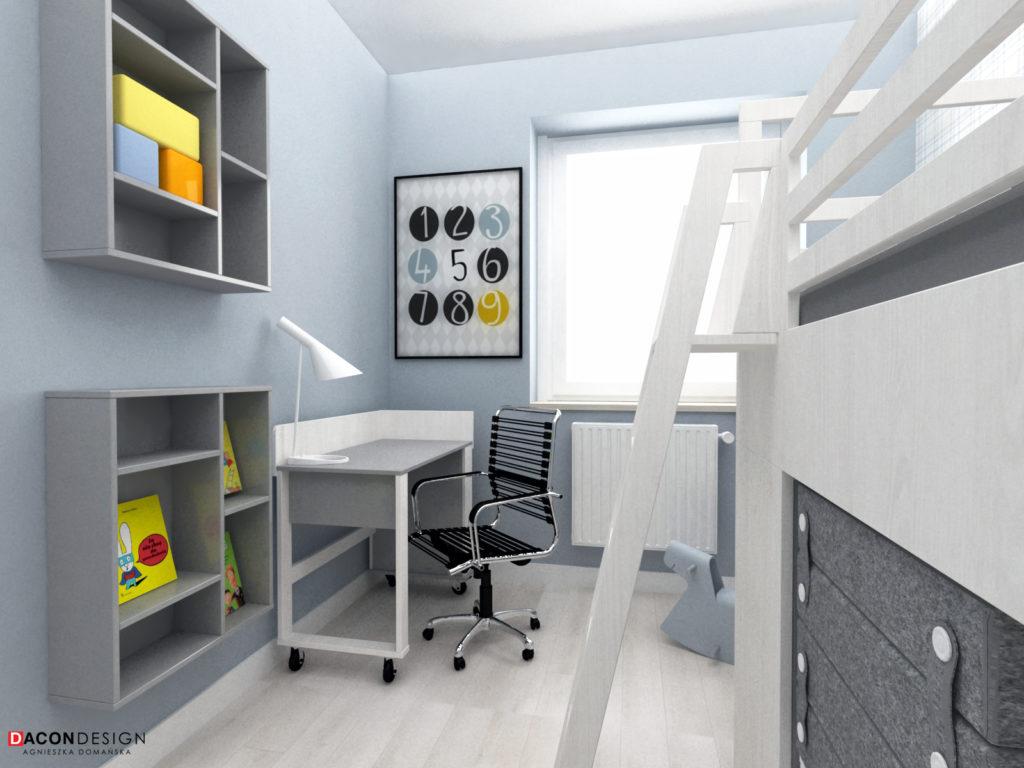 Pokój dziecka w skandynawskim stylu z łóżkiem piętrowym, biurkiem, fotelem i regałem marki Vox