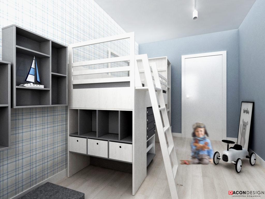 Pokój dla dziecka z piętrowym łóżkiem i tapetą w kratkę w kolorze niebieskim
