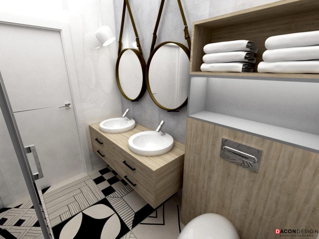 Lustra na pasku, umywalki na drewnianej szafce, płyki podłogowe we wzory