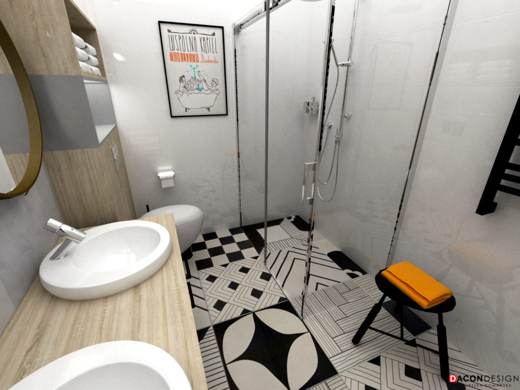 Aranżacja łazienki z płykami we wzory i z fakturą z betonu