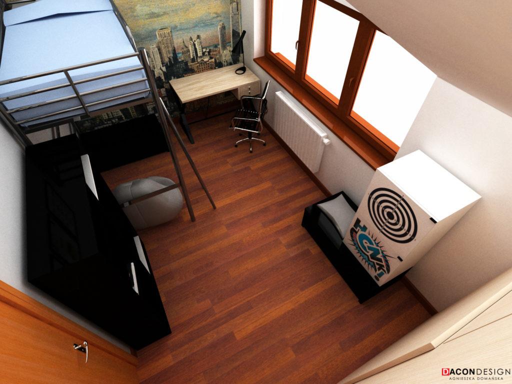 Projekt pokoju dla nastolataka z piętrowym łóżkiem, biurkiem, regałem i tapetą na ścianie głównej
