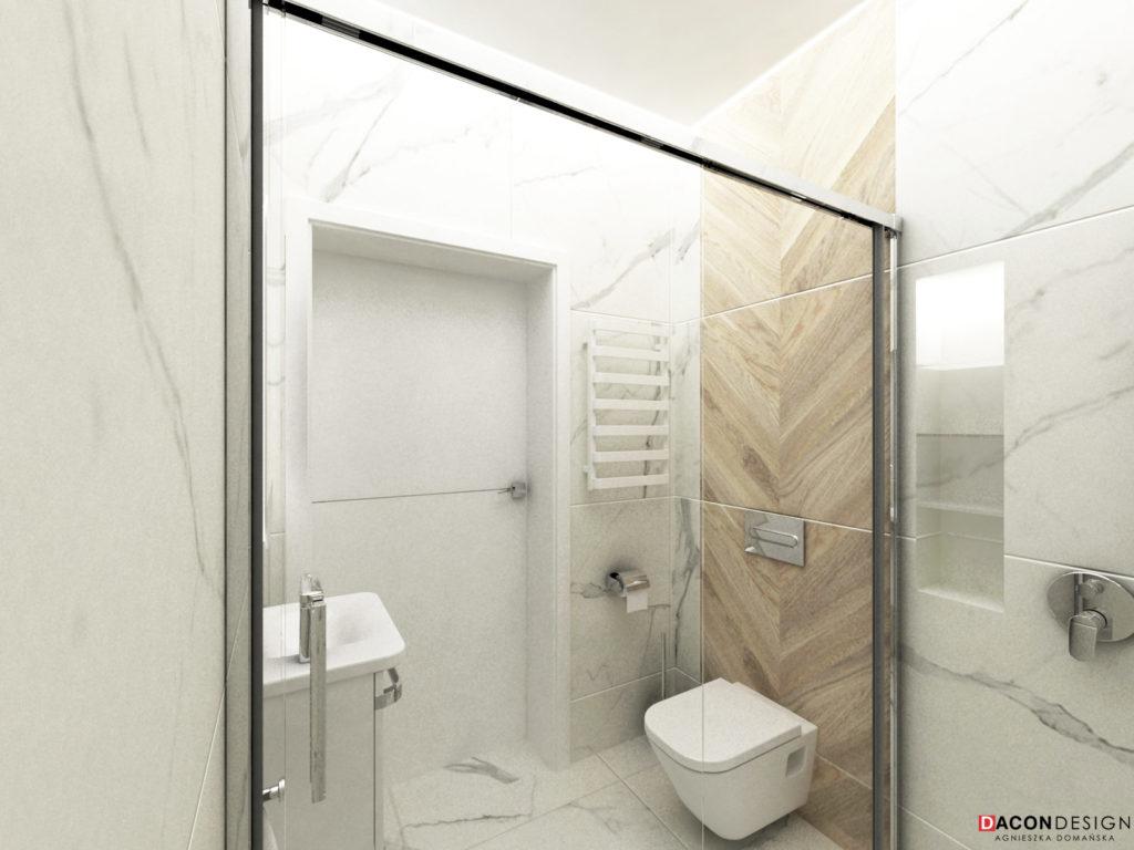 Marmurowe płytki Pietrasanta marki Tubądzin do łazienki