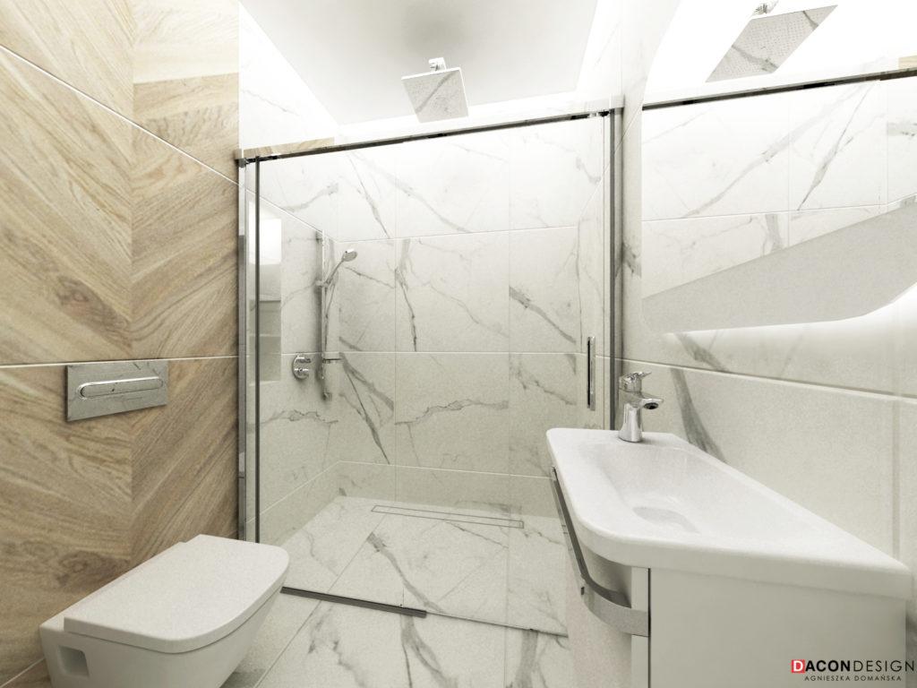 Łazienka z płytkami z drewna i marmuru