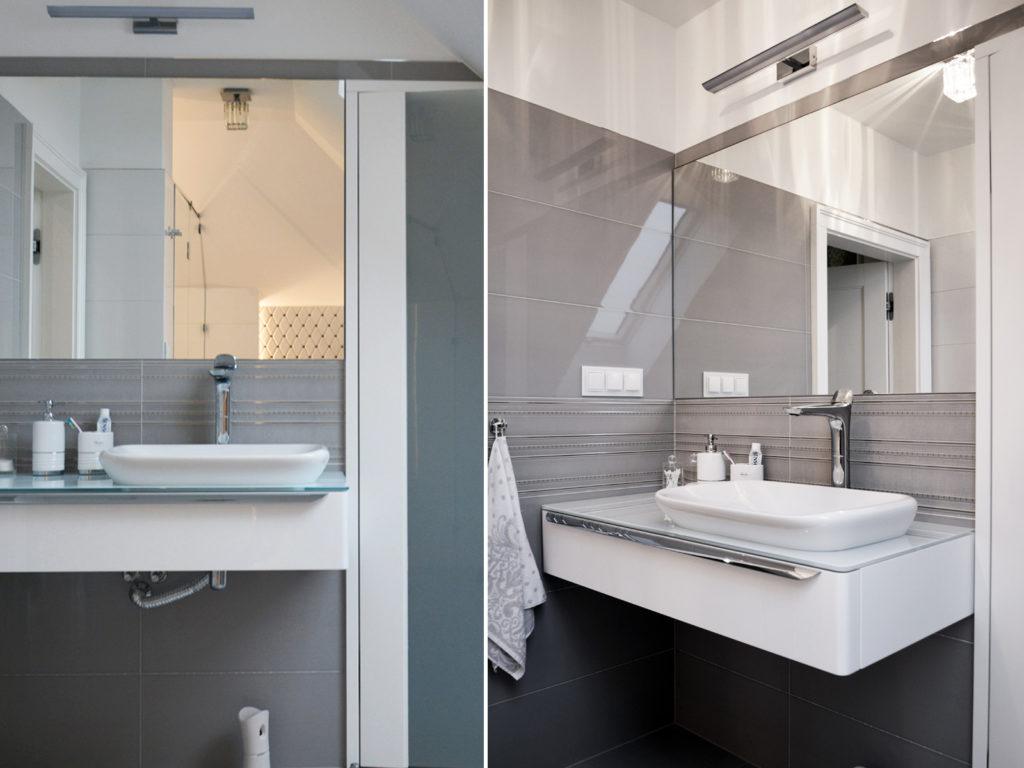 Nowoczesna łazienka z płykami marki Tubądzin w kolorze białym i szarym