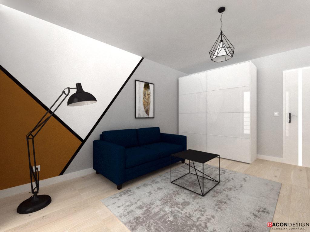 Aranżacja wnętrza z niebieską sofą, lampą stojącą, dywanem i meblami z Ikei