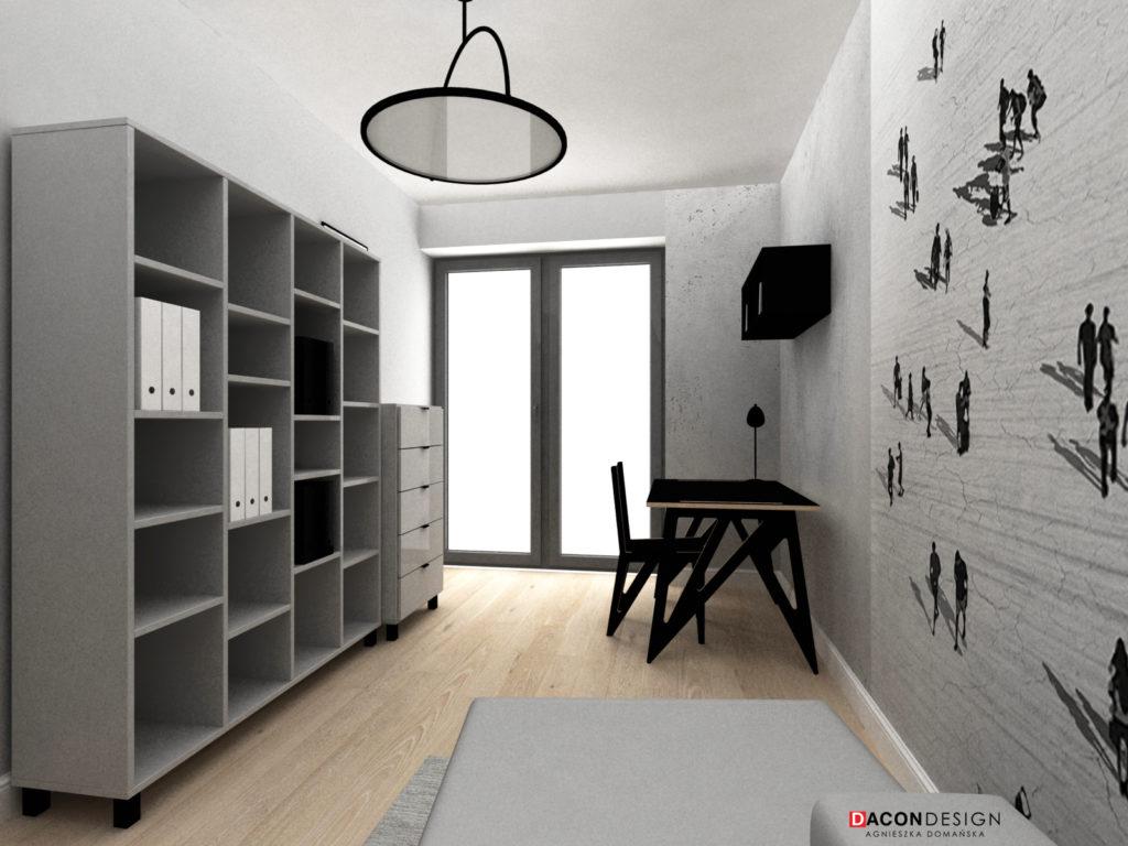 Pokój do pracy w domu z meblami Vox oraz biurkiem i krzesłem wg indywidualnego projektu