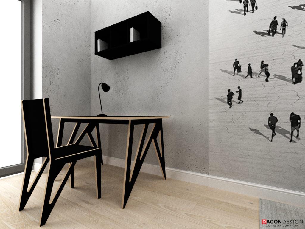 Nowoczesne, minimalistyczne, czarne biurko ze sklejki