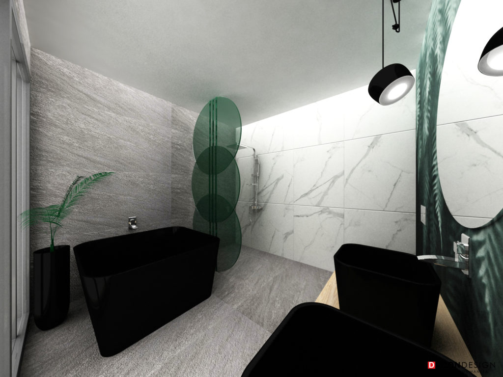 Minimalistyczna łazienka z płytkami z kamienia, marmuru oraz czarnymi lampami i czarną ceramiką łazienkową