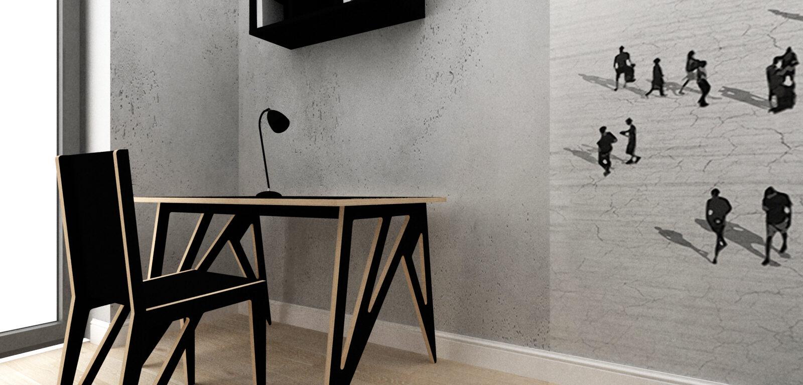Nowoczesne biurko i krzesło ze sklejki