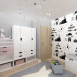 Skandynawski dywan z gwiazdą w niebieskim kolorze w pokoju dziecka
