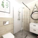 Drewno i beton w łazience oraz szafka z umywalką, lustro na skórzanym paski i prysznic marki Radaway