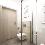 Nowczesna łazienka z płytkami białymi, z fakturą betonu i drewna i roślinnym platakem