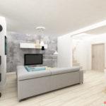 Tapeta na ścianie głównej w salonie w nowoczesnym stylu