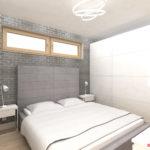 Sypialnia z szara cegłą, tapicerowanym łóżkiem i szafą Ikea