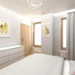 Szara sypialnia w stylu skandyawskim ze złotymi plakatmi z motywem roślinnym