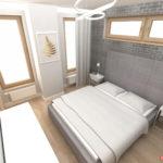 Sypialnia z szarą cegłą, atpiecowanym łóżkiem, komodą Ikea i stolikami nocnymi take me HOME