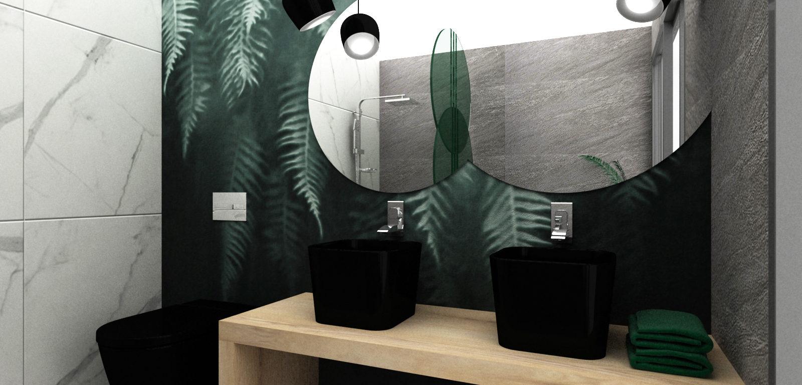 Aranżacja salonu kąpielowego z tapetą z motywami roślinnymi, czarną aramaturą sanitaną i lampami