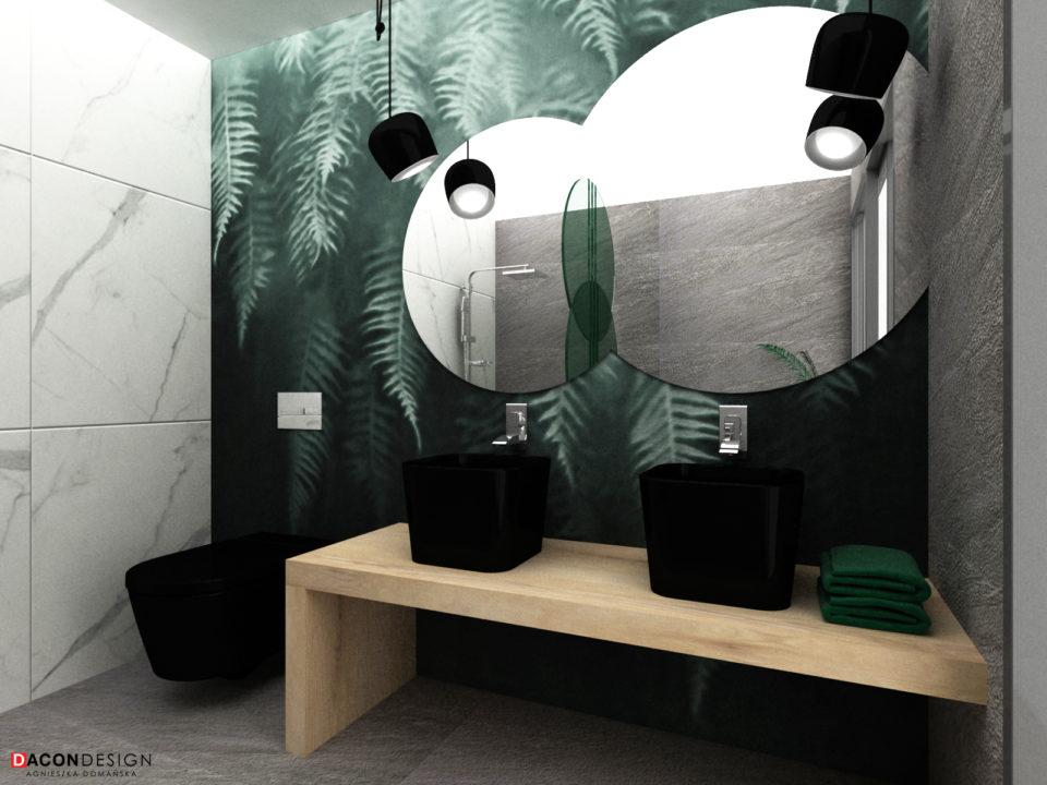 Tapeta w łazience na ścianie z lustrem i czarnymi umywalkami na drewnianym blacie