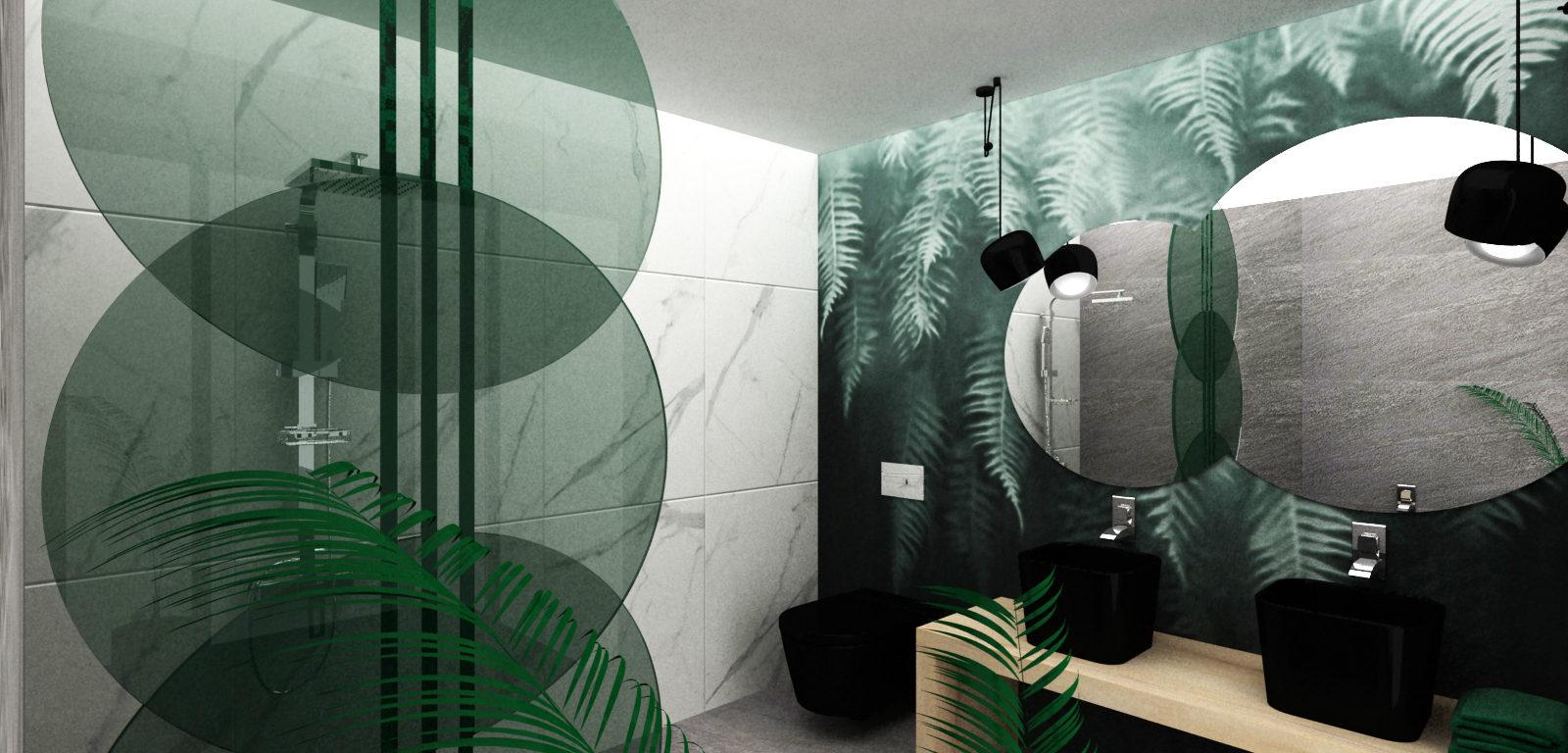 Tapeta w łazience z motywem liści