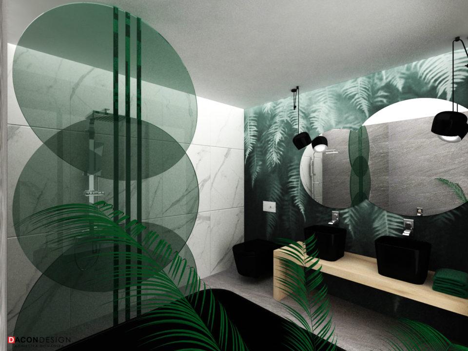 Nowoczesna łazienka z tapetą w liście na ścianie głównej