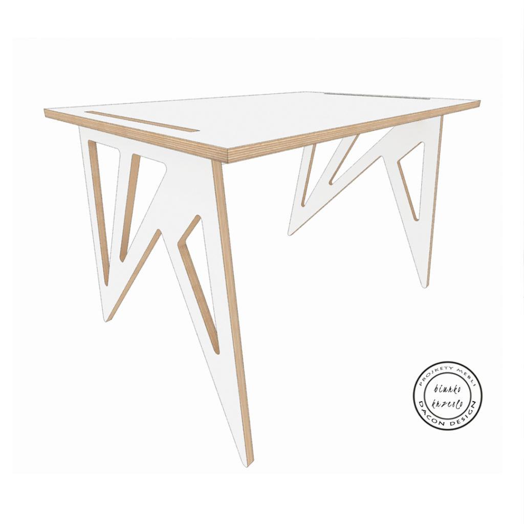 Nowoczesne biurko ze sklejki w kolorze białym