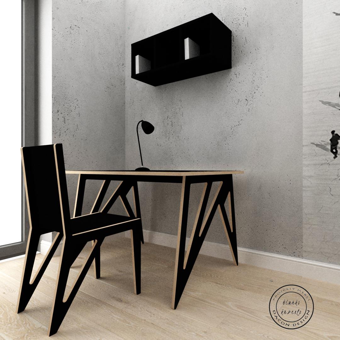 Projekt biurka i krzesła ze sklejki w czarnym kolorze na zamówienie