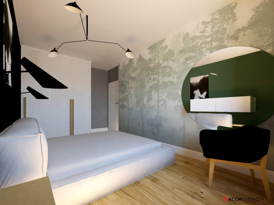 Sypialnia z tapetą z motywem lasu, tapicerowanym łóżkiem, zielnym fotelem, nowowczesymi, czranym lampami