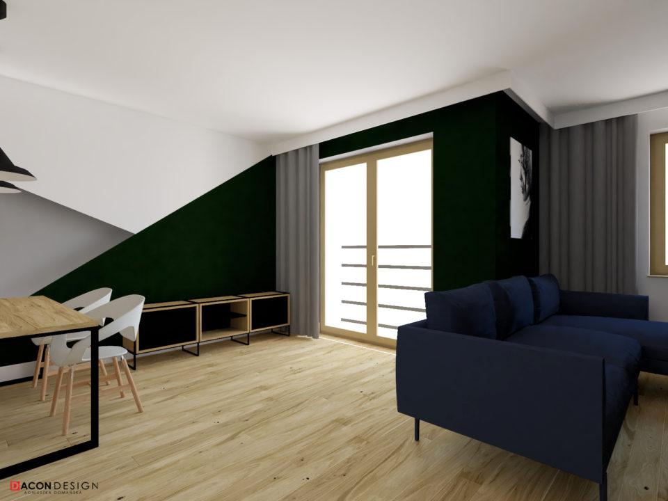 Aranzacja salonu z aneksem kuchennym w kolorze zieleni, z drewnianą podłogą i mablami marki take me HOME