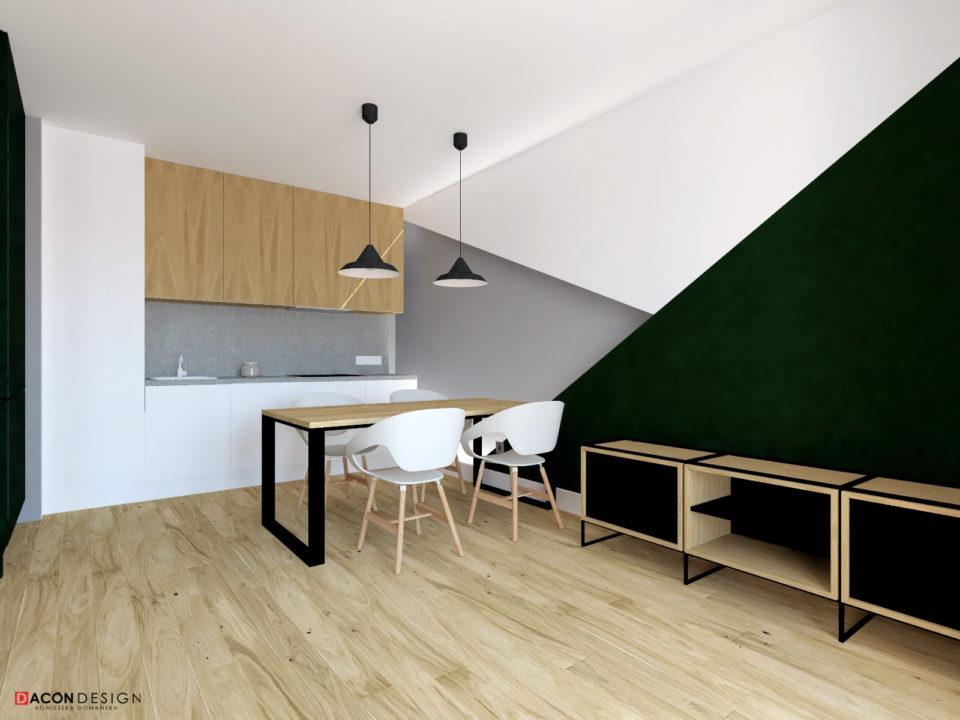 Aranżacja salonu z aneksem kuchennym w nowoczesnej stylistyce