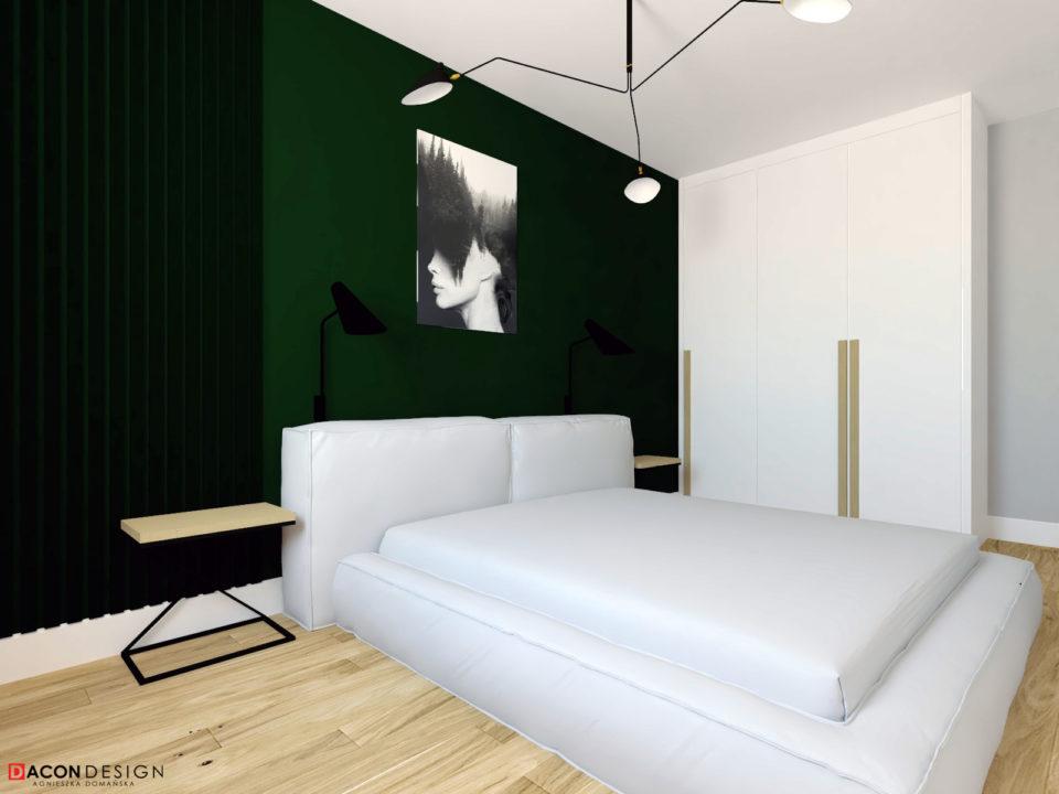 Sypiania w skandynawskim stylu z zieloną ścianą i tapicerowanym, szarym łóżkiem