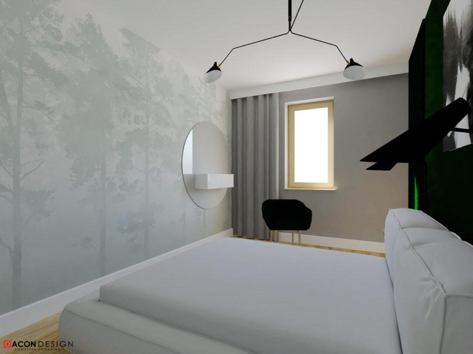 Tapeta z motywem lasu w sypialni