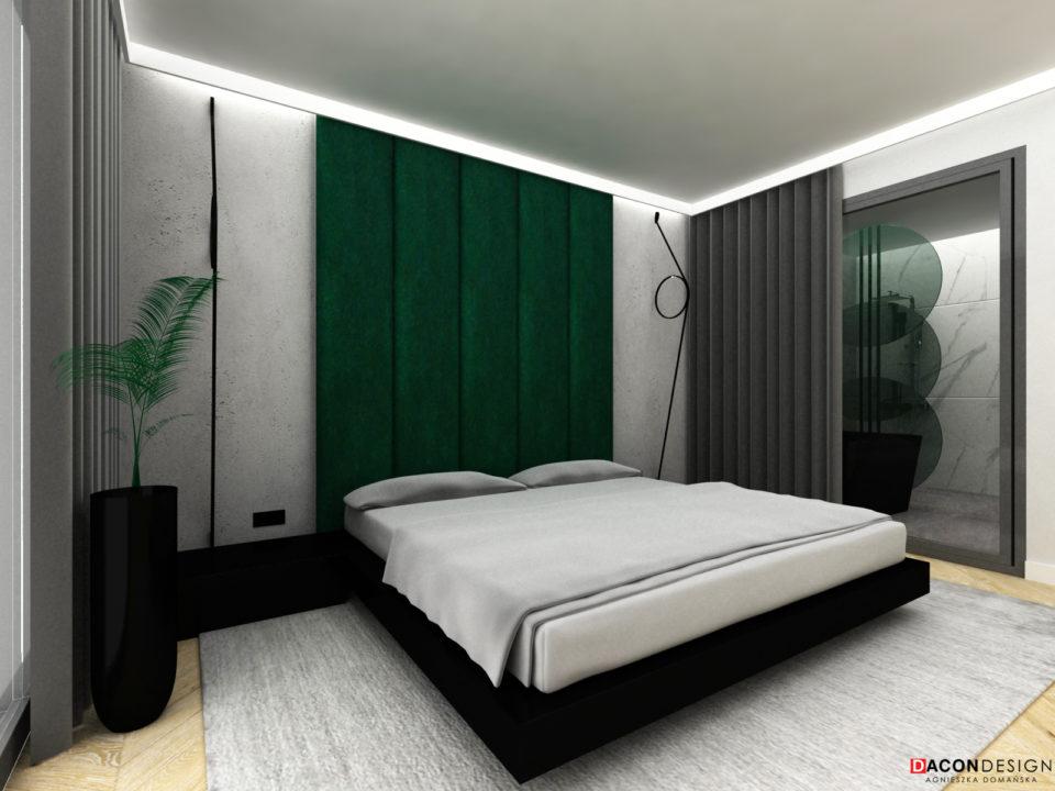 Minimalistyczna sypialnia z zielonym, tapicerowanym zagłówkiem