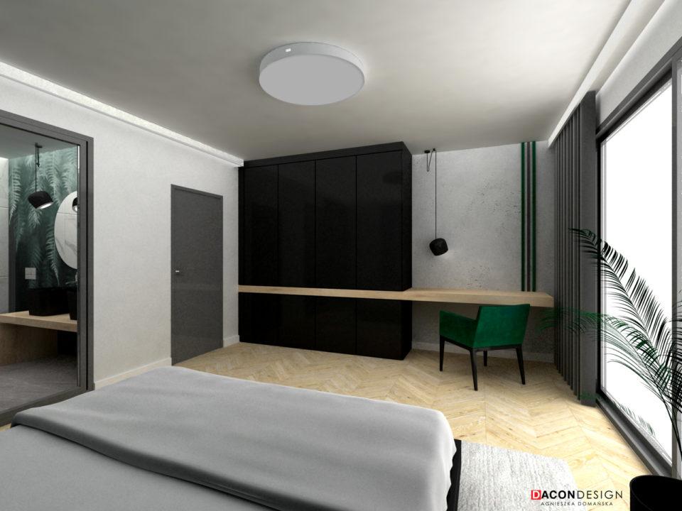 Nowoczesna sypialnia z zielonymi dodatkami