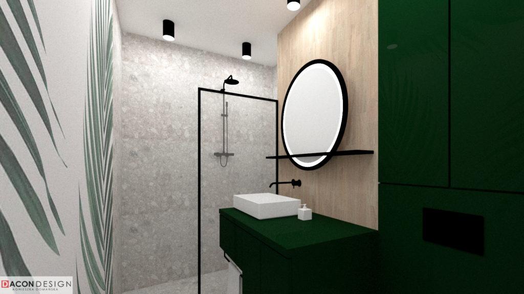 Nowoczesna łazienka z płykami terazzo, tapetą z motywem liści i zieloną zabudową meblową